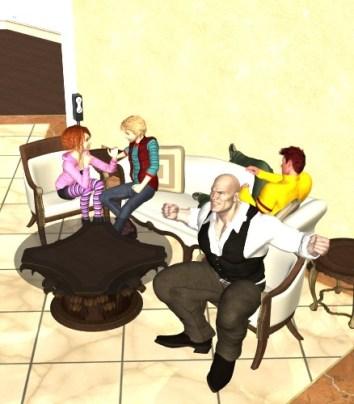 【Daz家族】ドリームホームにフィギアを済ませて四コマを作る。7