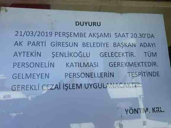 21 Mart sosyal medya paylaşımımız ve Ak Parti Giresun Belediye Başkan Adayı Aytekin Şenlikoğlu'nun açıklaması hakkında. 19