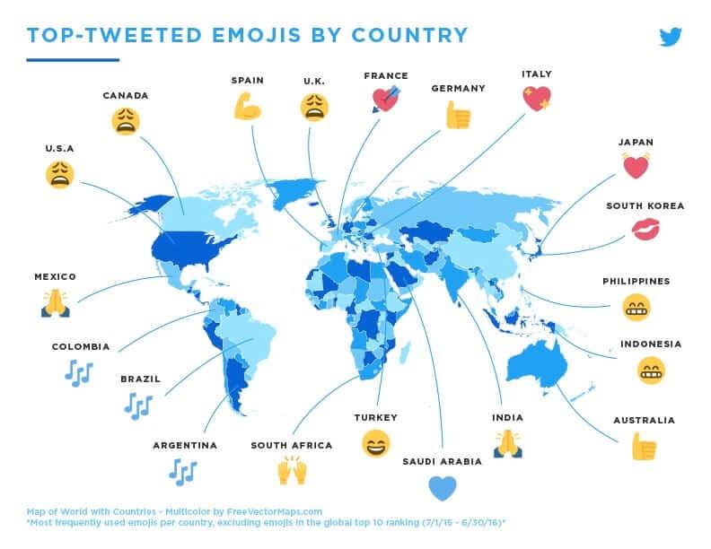 En Çok Gönderilen Emojiler İle Ülkelerin Duygusal Durumu