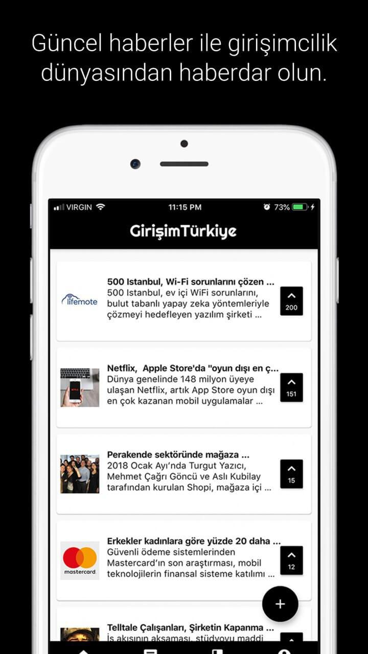 Girişim Türkiye Platformu Mobil Cihazlarda