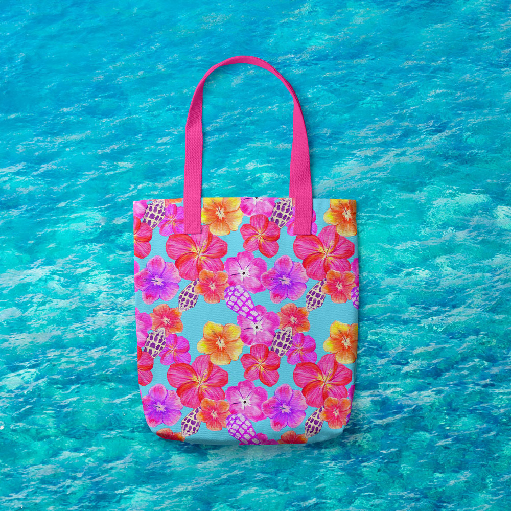 tote bag with vibrant tropical repeat pattern. Surface pattern design Australia.