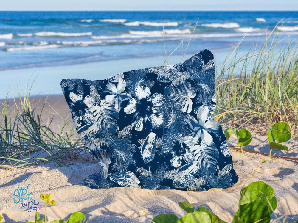 Blue Lagoon pattern design cushion