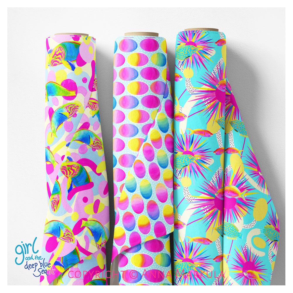 rolls of fabric with bright surface pattern designs by Australian artist Anna Markula