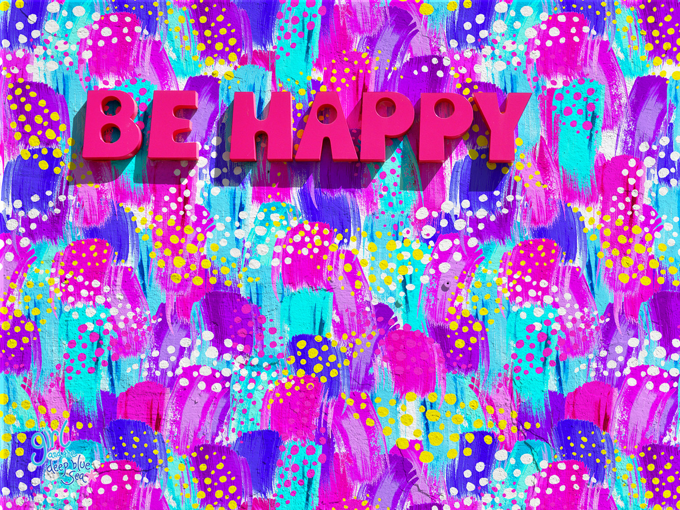 fun seamless surface pattern design with 'be happy' on wall