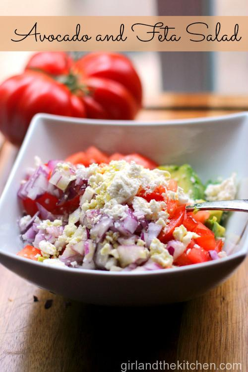 This super easy feta and avocado salad is full of ripe tomatoes and zesty feta. It's a perfect side dish to any entree or as a stand alone salad.