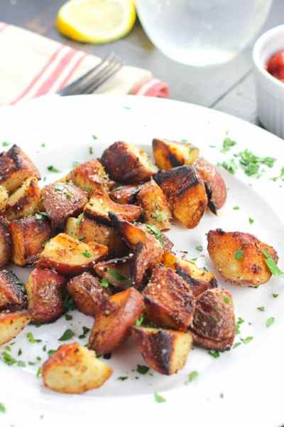 Prepare for the easiest, crispiest and most addicting breakfast potatoes EVER!!! Once you have one you will be addicted! Best of all, they are healthy AND ready in under 20 minutes!!! It does not get better than this!