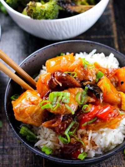 Full of aromatic and colorful roasted vegetables and a zesty and easy sauce this sweet and sour chicken will change your restaurant carryout habits forever!
