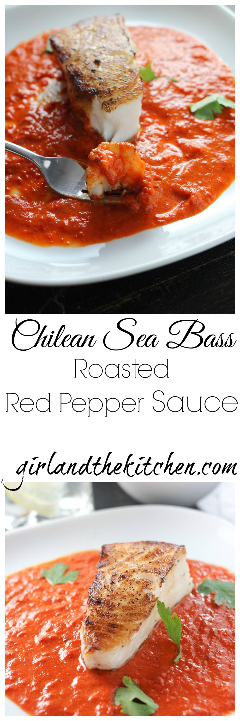 A perfectly seared Chilean sea bass with a spicy red pepper sauce.