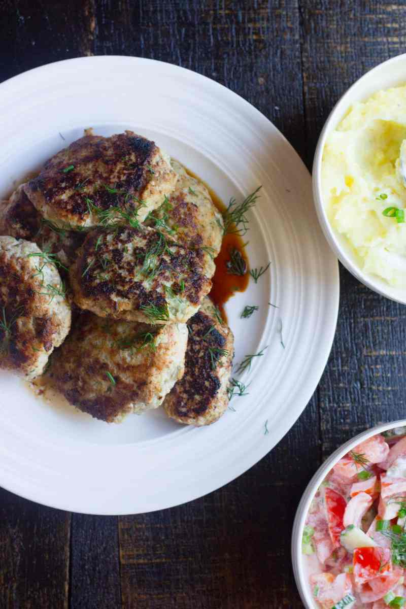 Juicy ground chicken cutlets mixed together with dill, onion and an egg all in a Vitamix then pan fried to golden perfection. This is Russian comfort food made even easier!