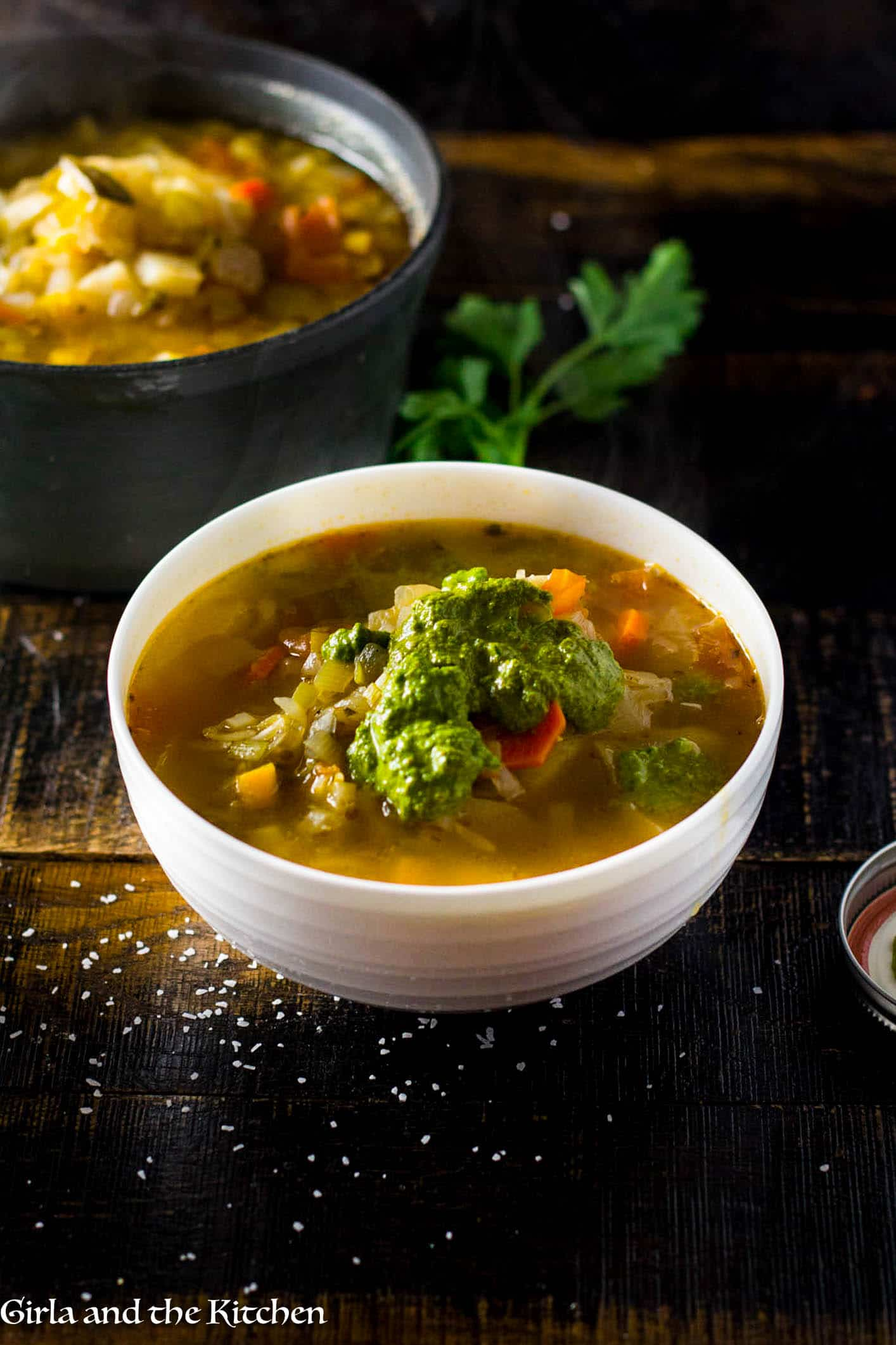 A classic French country vegetable soup loaded with fresh good for you veggies and finished off with an unforgettable nut free French pesto. Comfort food that is both healthy and hearty!