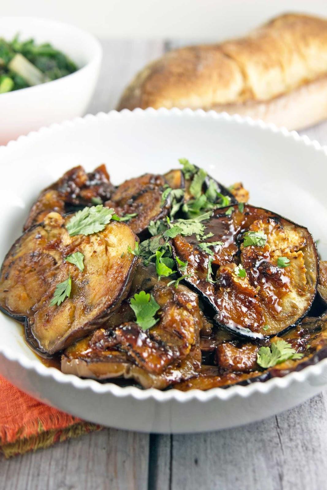 Moroccan Honey Glazed Eggplant_ meltingly soft eggplant, glazed in a sweet and spicy honey and harissa sauce.  Vegan and gluten free!  {Bunsen Burner Bakery}