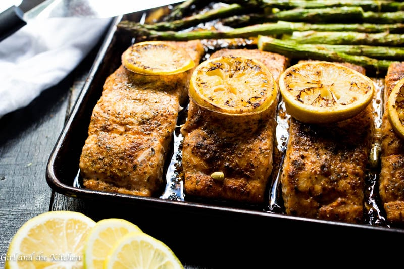 One pan cajun salmon and asparagus is the ultimate dinner! Healthy, delicious and on the table in 15 minutes! Who needs takeout when a meal this good is less than 30 minutes away.
