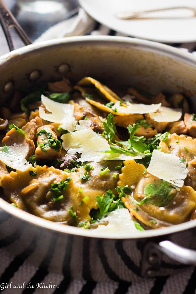 My super simple and wholesome chicken marsala has always been an incredibly dinner! But with the addition of Buitoni Agnolotti filled with fragrant mushrooms and creamy cheese it takes this incredibly fast and simple dinner to a whole other level! This is the perfect meal for a crazy weeknight or a last minute dinner party on a weekend!