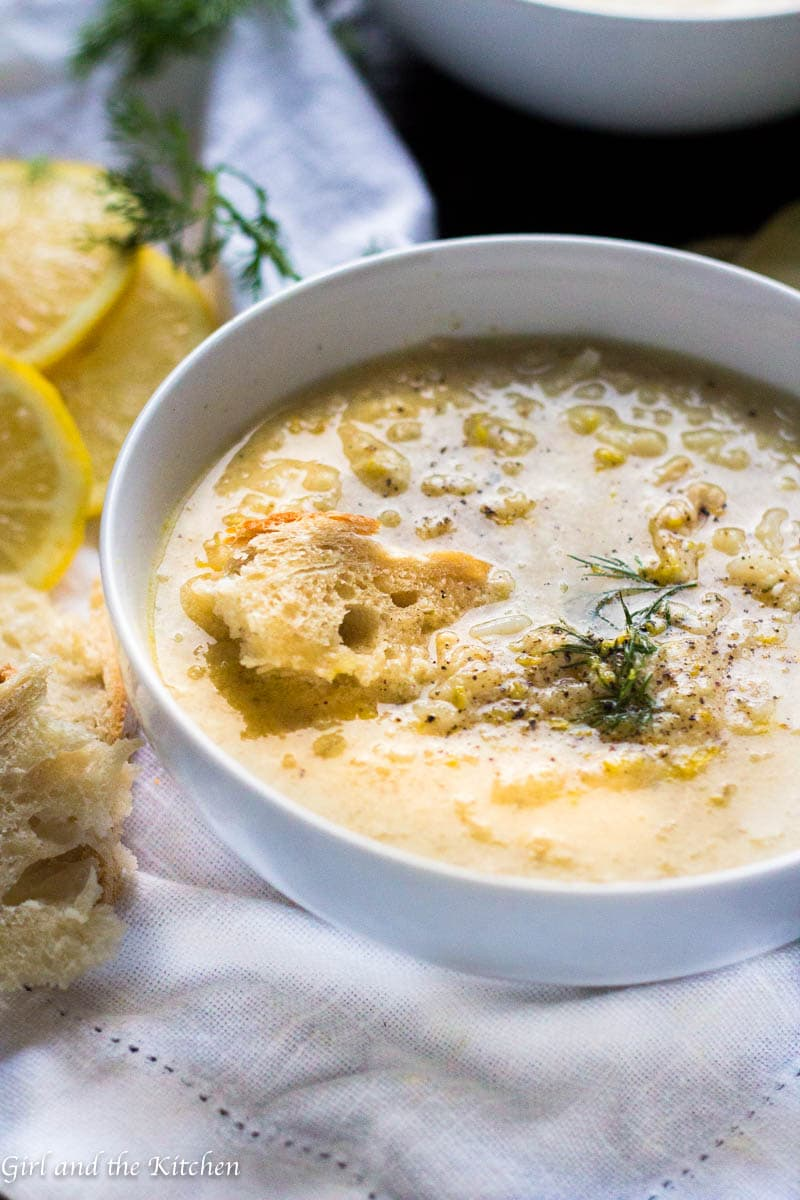 Avgolemono soup is the classic Greek chicken penicillin. It is a heavenly, velvety soup with a savory chicken broth, tart lemons and egg yolks. The combination creates a smooth and comforting soup perfect for a new twist on the classic chicken soup.