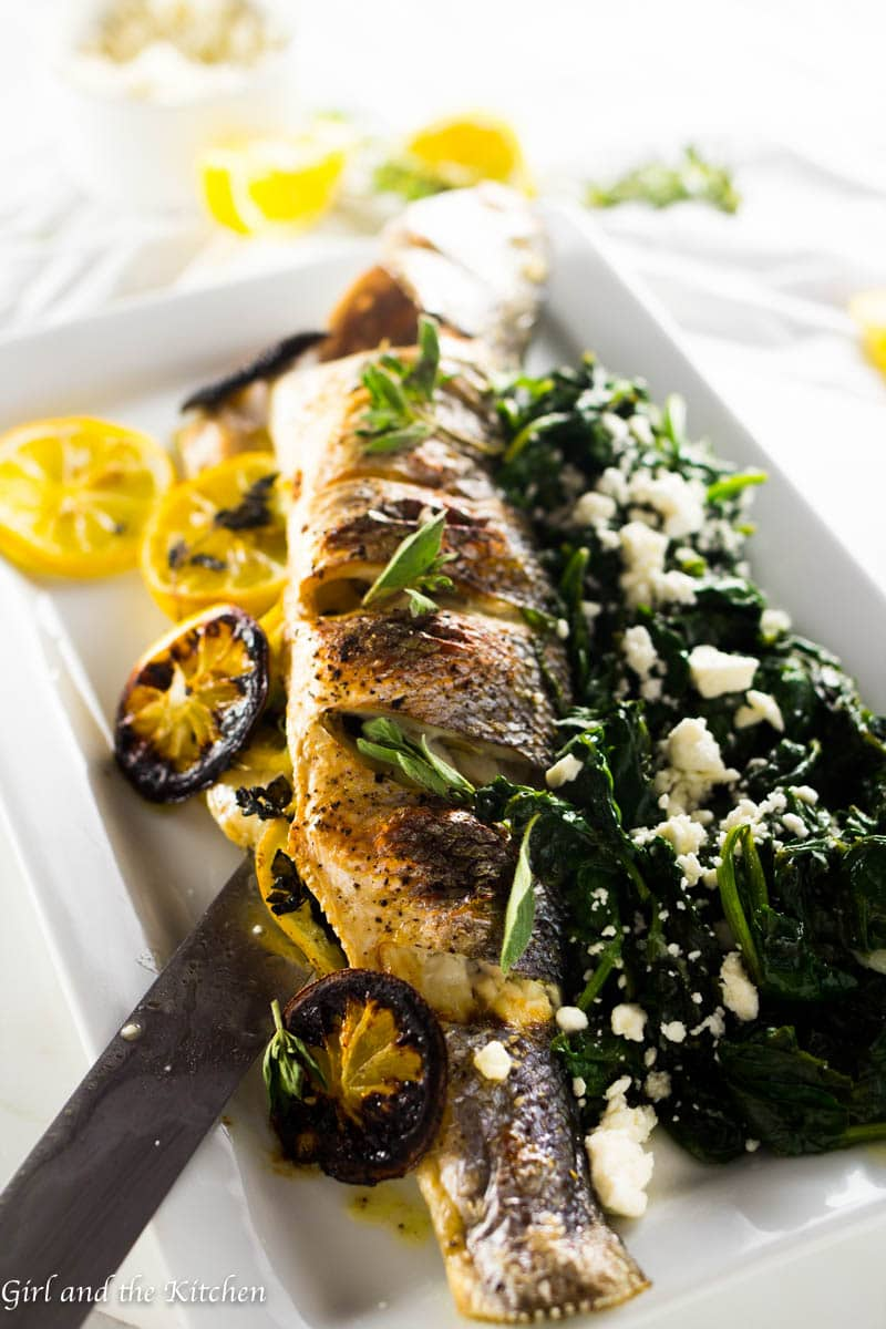 Greek Whole Roasted Branzino Girl And The Kitchen