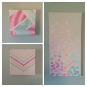 DIY Confetti Canvas using Paint Samples Washi Tape Project