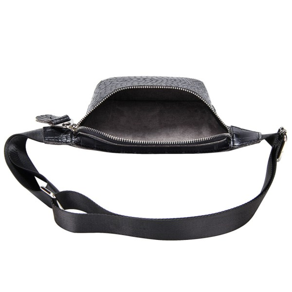 This is a photo of a black waist bag with an alligator pattern. It is opened to show the insides of the bag that is roomy and gray in color.