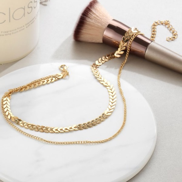 Gold Chain Necklace Choker close up photo