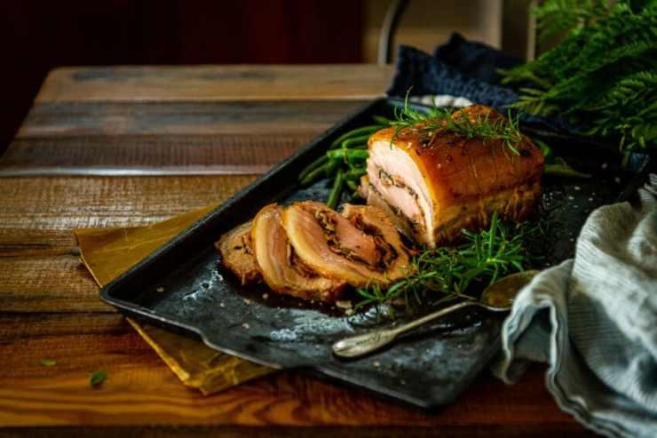 Stuffed Pork Loin with Mushroom Stuffing