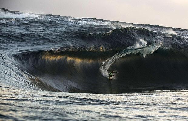 Kerby Brown rides a huge wave in western Australia
