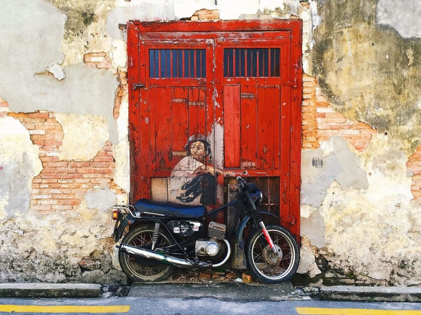 "The famous ""Boy on bike"" Street art in Penang"