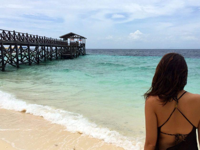 Enjoying the beach on Sipadan island in between dives