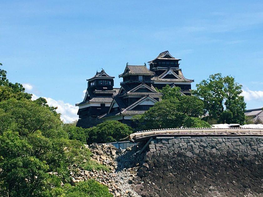 Stone wall rubbles surrounding the Kumamoto Castle