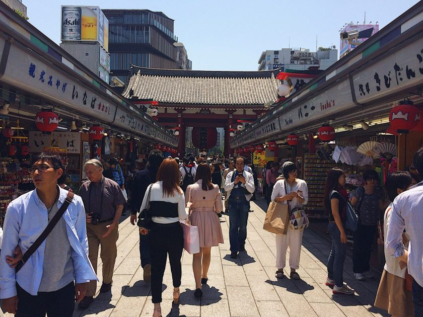 The food street in front of the Asakusa Sensoji Temple