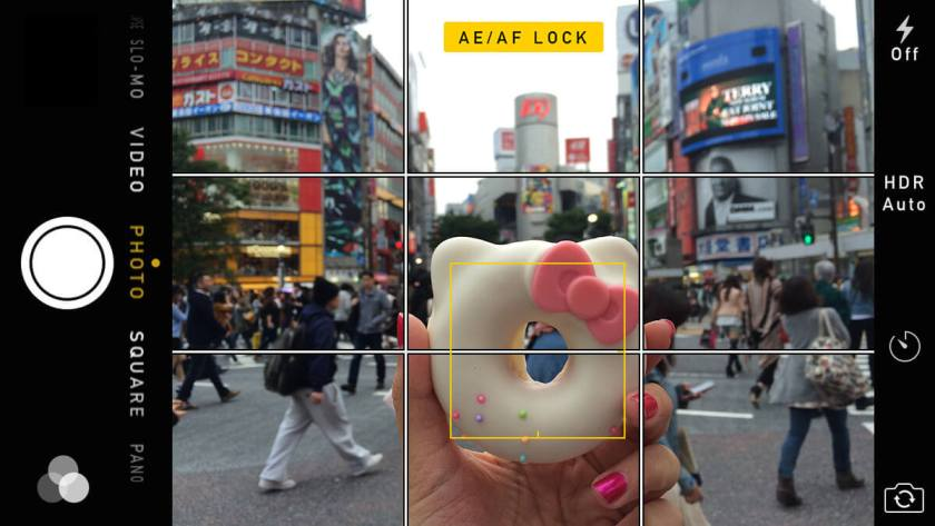 iPhone camera with AE/AF Lock Enabled