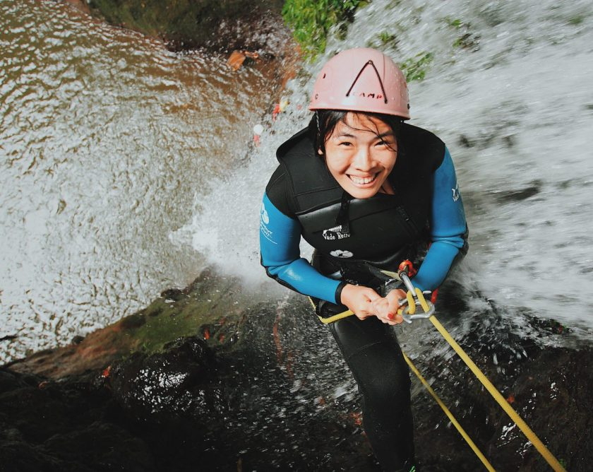 Adventure Canyoning - Right before rappelling down the 15m waterfall