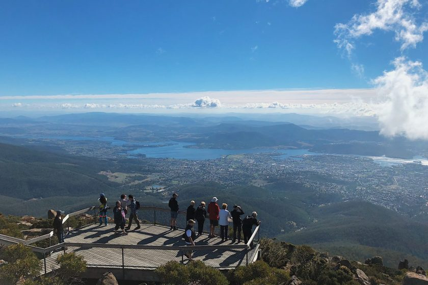 A viewing deck on top of Mount Wellington in Hobart