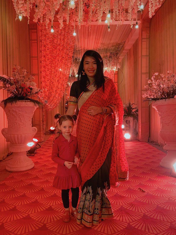 My orange and black saree - with a bonus cute girl!