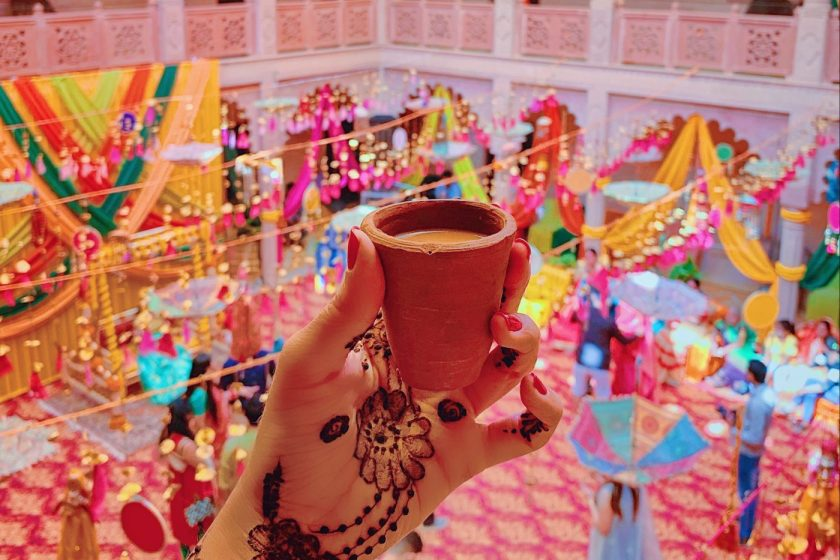 Chai in a clay cup