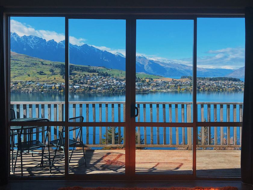 View from Airbnb in Queenstown at South Island, New Zealand