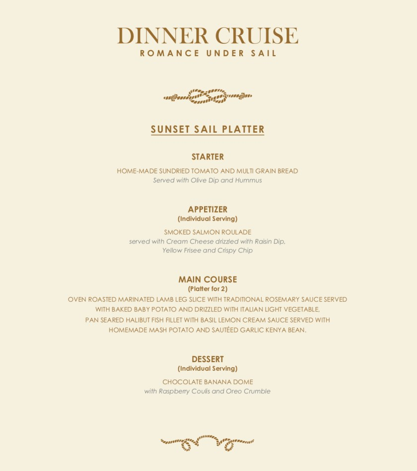 Royal Albatross Dinner Menu
