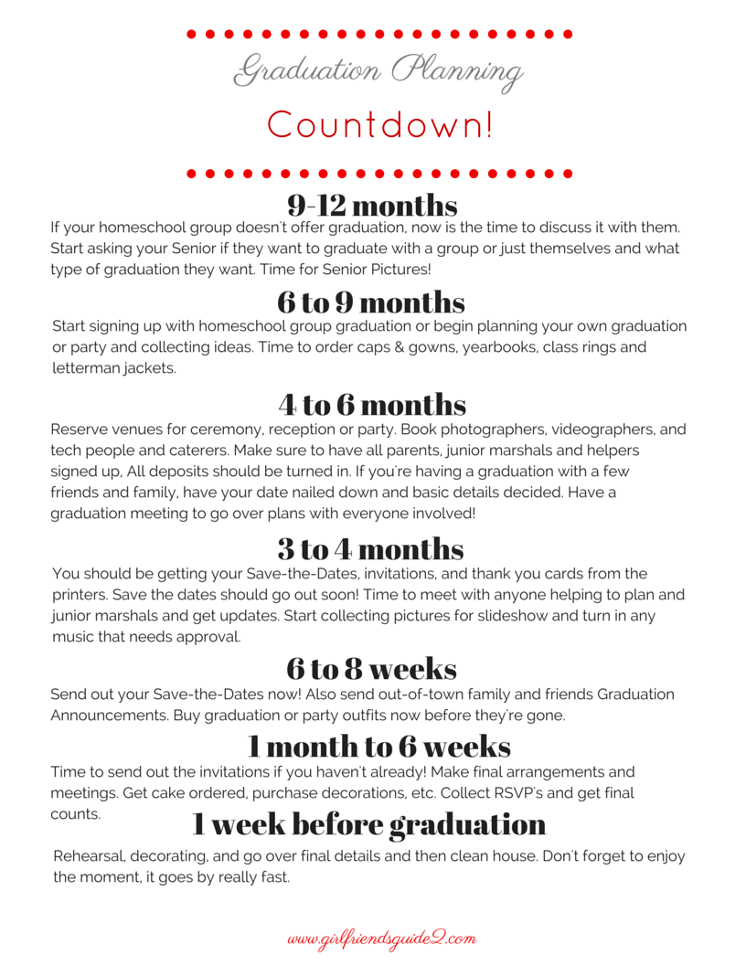 resources girlfriend s guide 2 ready or not it s graduation time it s senior year and you don t want to miss anything please enjoy this graduation planning timeline from my book