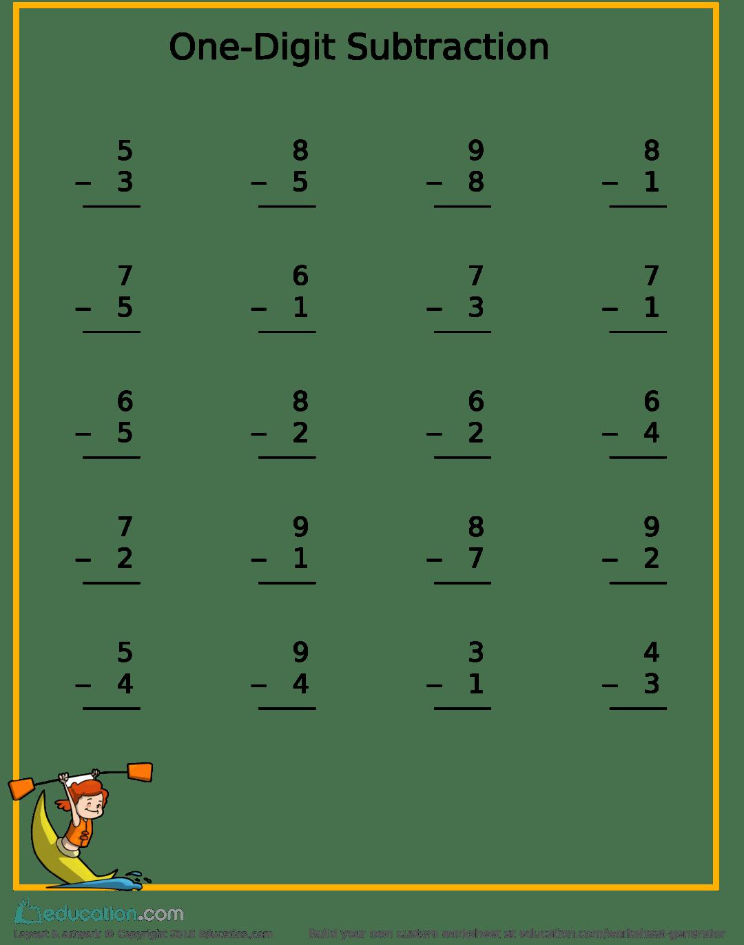 Free Subtraction Kayak Worksheet