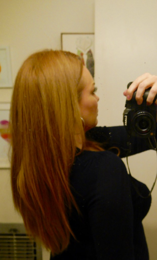 """Sorry for so many pictures!! I'm just really in love with my extensions, I put so much work into them!! This is the 16"""" Strawberry Blonde set again."""