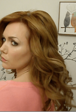 """Curled with a 2"""" Hot Tools curling iron."""