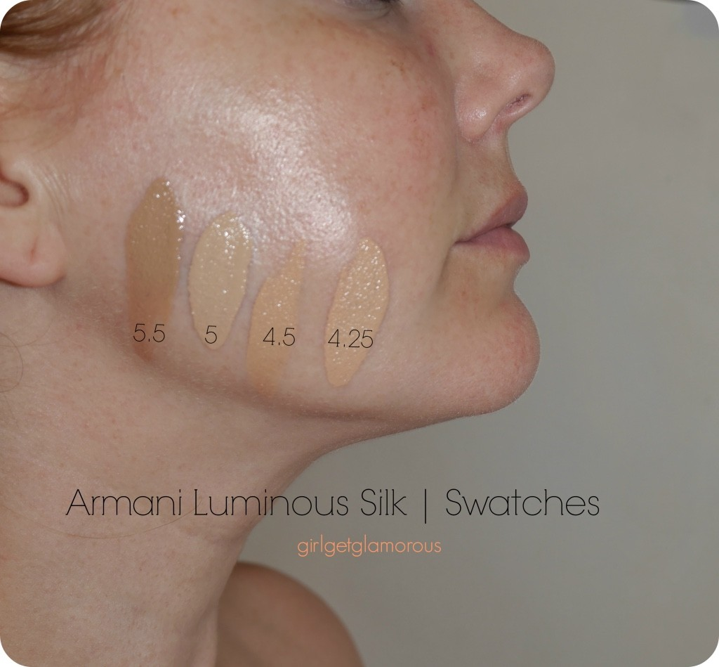 armani luminious silk foundation swatches shades fair light 4.25 4.5 5 5.5 maestro glow highlighter review pictures