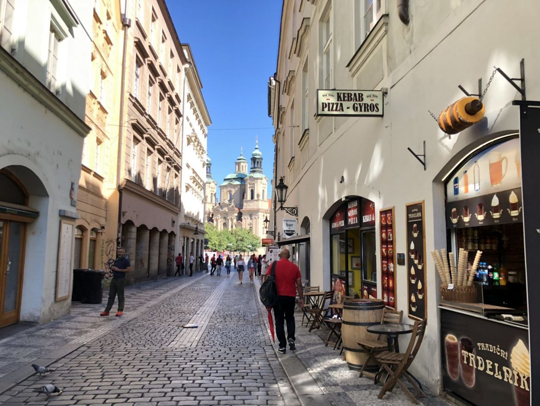 prague walking toward old town square clock tower