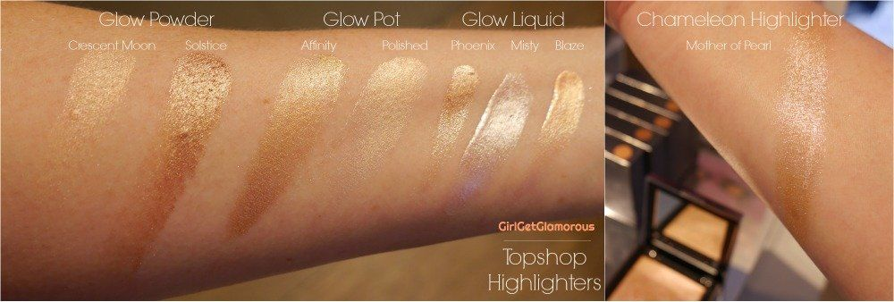 topshop glow beauty highlighter highlighters chameleon swatches shades