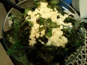 And the raw kale salad with seaweed, topped with soft tofu. I've crumbled dried seaweed into salads since. Delightful flavor.
