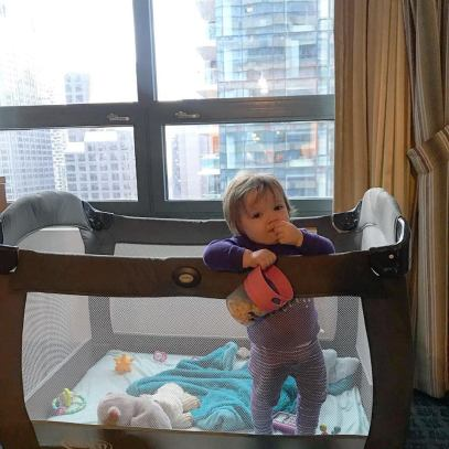 Charlotte loved eating snacks from her Munchie Mug and a view of the city