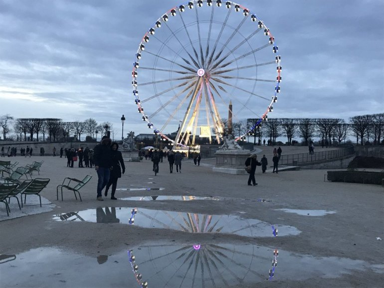 Parisian Holiday Season - Puddle Reflections