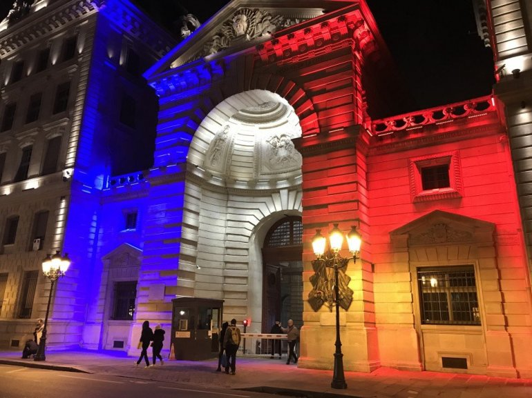 Parisian Holiday Season - police headquarters dressed in lights