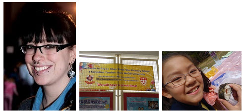 Image 1: Jessica Reid; Image 2: The welcome mat was rolled-out for Jessica at her school in Hong Kong; Image 3: One of Jessica's students in Hong Kong.