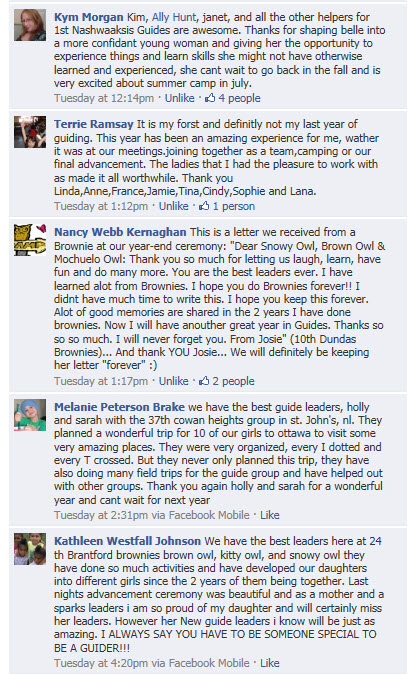 Comments Thanking Guiders for GGC's Facebook Fan Page