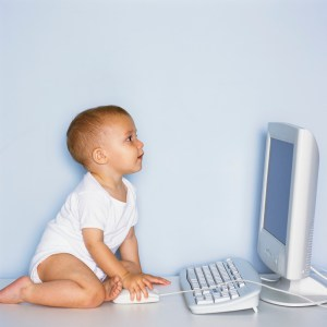 Baby Using Computer. Image From Microsoft Clip Art.