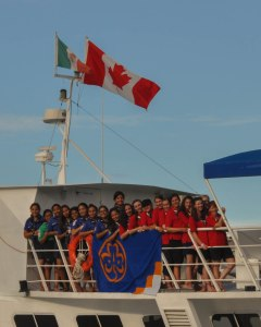 The Canadian flag flies onboard as girls explore the Sea of Cortez during a 2014 nationally-sponsored trip to Mexico. (Candice Lys)